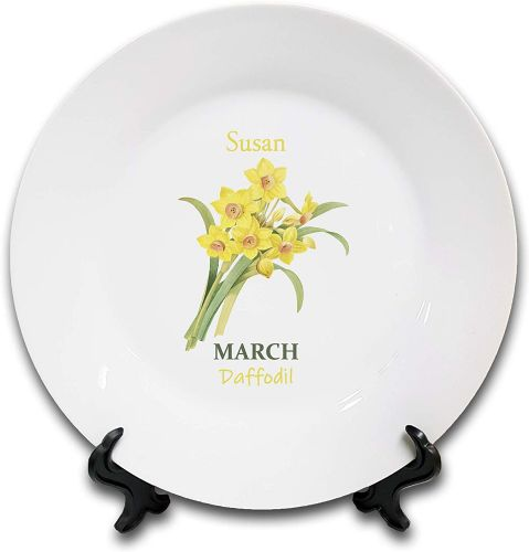 Personalised Flower of The Month March Novelty Gift Ceramic Plate & Stand